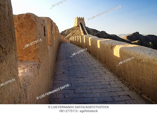 Western confine of the Great Wall at Jiayuguan, Gansu province, China, Asia