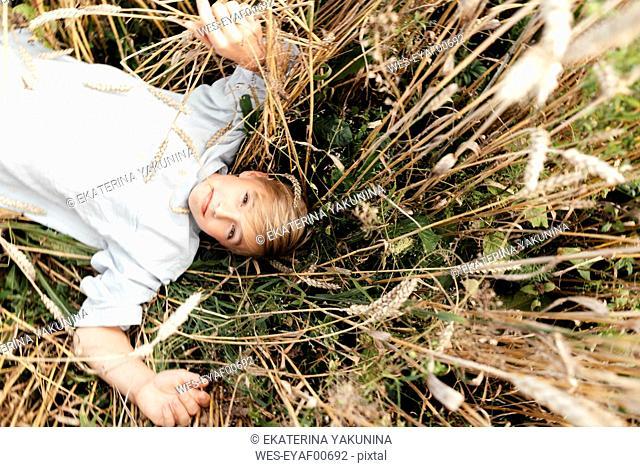 Portrait of blond boy with oat ear in mouth lying in an oat field