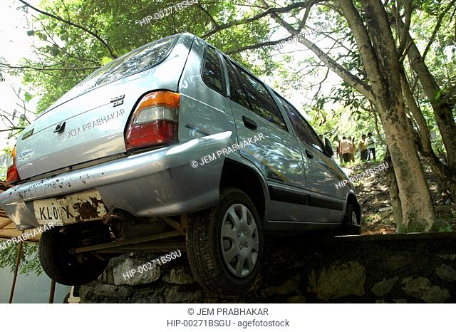 CAR BACKED UP A LITTLE TOO FAR, KERALA, INDIA