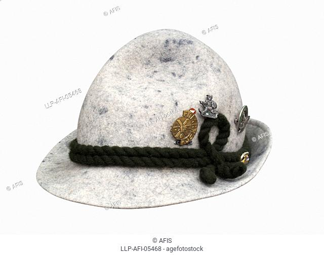 Felt hat with corded band and badges