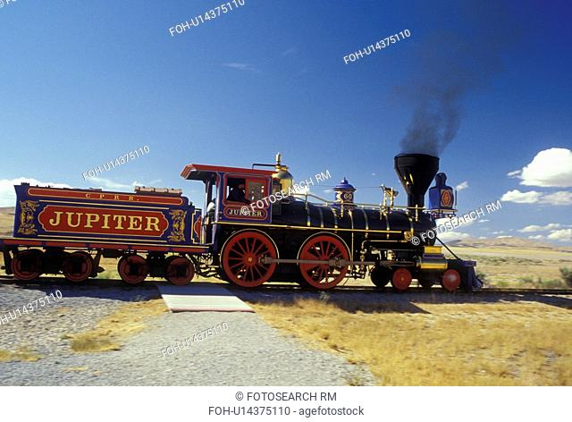 UT, Utah, Golden Spike National Historic Site, Jupiter Train, Promontory Summit, the place where the Union Pacific and Central Pacific rails met to form the...