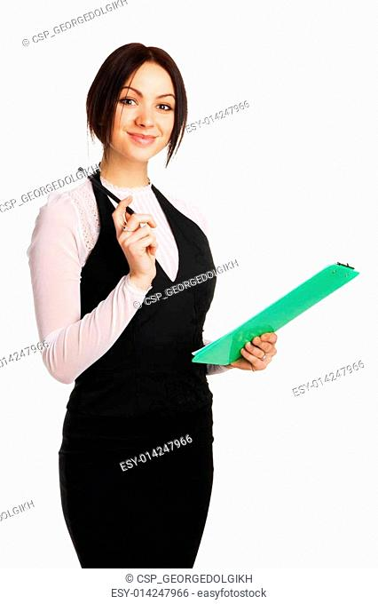 Beautiful young businesswoman with a worksheet