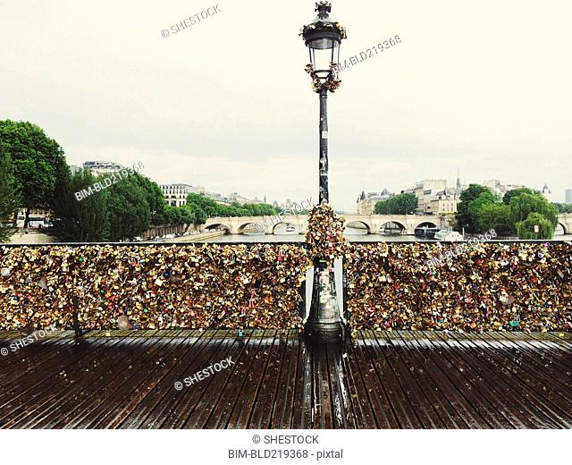 Locks attached to Pont des Arts Bridge, Paris, Ile-de-France, France
