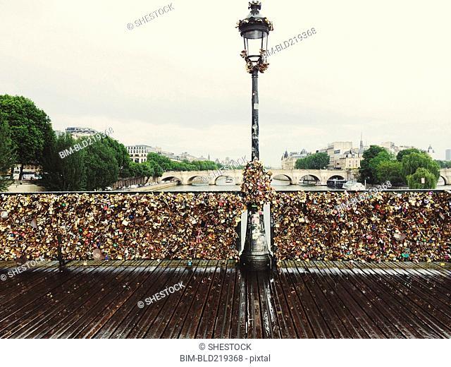 Locks attached to Pont des Arts Bridge, Paris, Ile-de-France, France