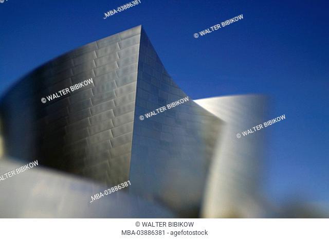 USA, California, Los Angeles, Downtown, Walt Disney Concert reverberation, detail, fuzziness, no property release, city, metropolis, buildings, construction