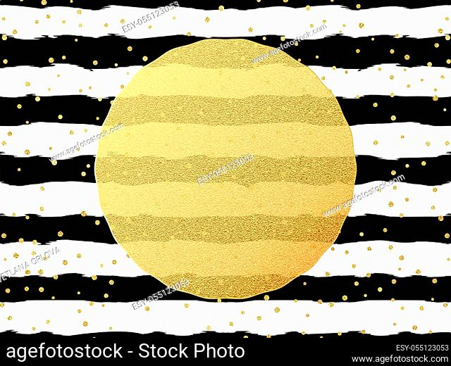 Greeting card template. Gold glitter foil dots confetti on striped white and black background. EPS 10 vector file