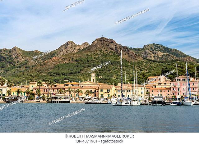 Porto Azzurro harbour, Elba Island, Livorno, Tuscany, Italy