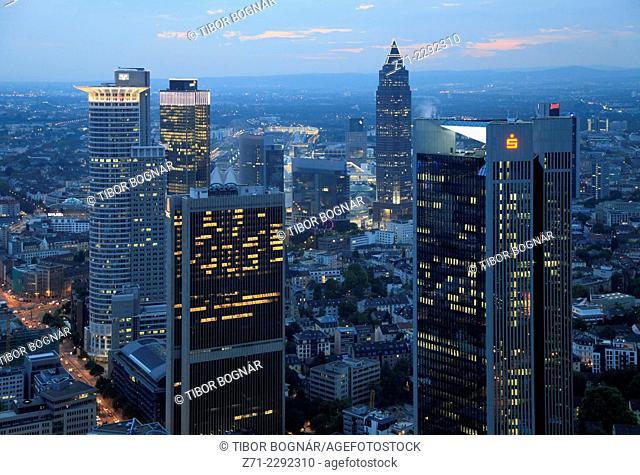 Germany, Hessen, Frankfurt am Main, business district, aerial view