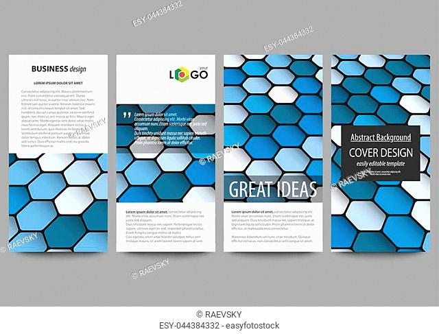 Flyers set, modern banners. Business templates. Cover design template, easy editable abstract vector layouts. Blue color hexagons in perspective