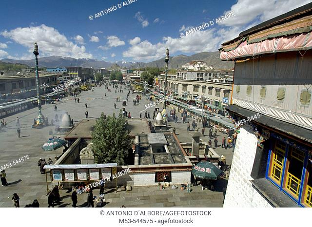 barkor square seen from the jokhang temple. barkhor district. lhasa. lhasa prefecture. tibet. china. asia