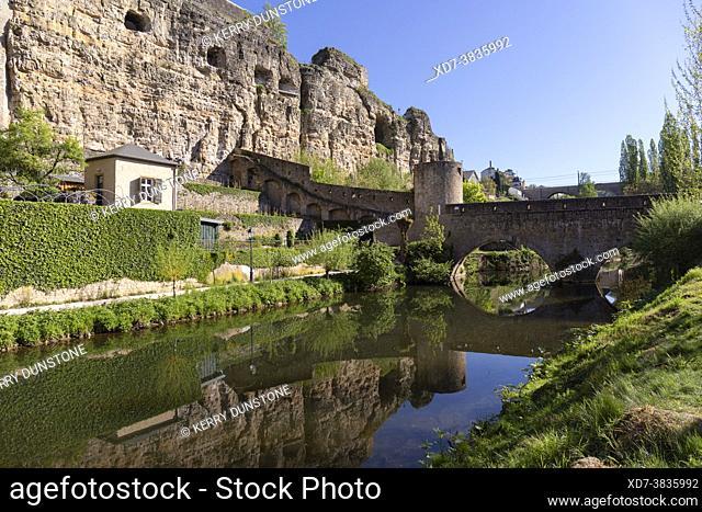 Europe, Luxembourg, Luxembourg City, The ancient Stierchen Bridge across the Alzette River, below the Casemates du Bock fortifications