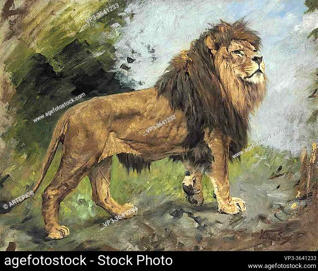 Vastagh Geza - a Lion Walking - Hungarian School - 19th Century
