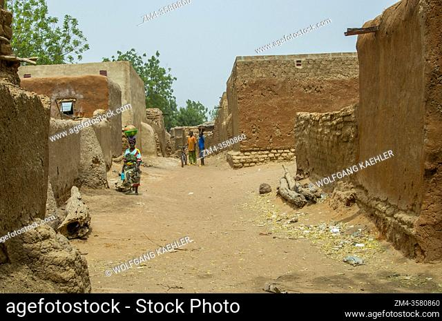 Mudbrick houses in the village of Segoukoro (Bambara tribe) near Segou city in the center of Mali, West Africa