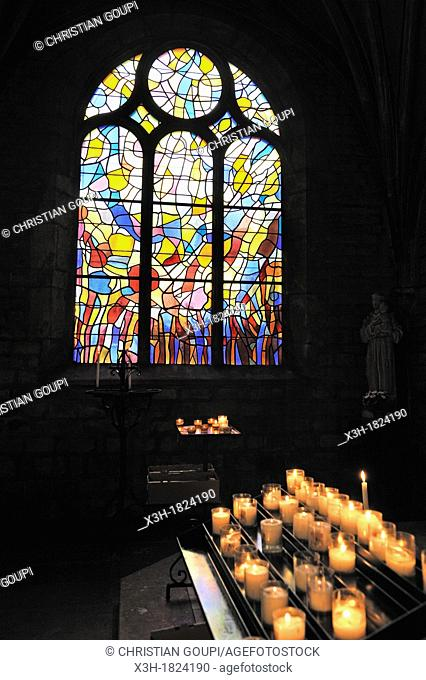 stained-glass window in St-Benigne Church of Pontarlier designed by the French painter Alfred Manessier 1911-1993, Doubs departement, Franche-Comte region
