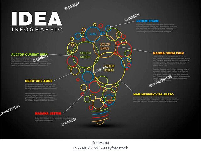 Thin line idea infographic template - circles with some content in the bulb shape - dark version