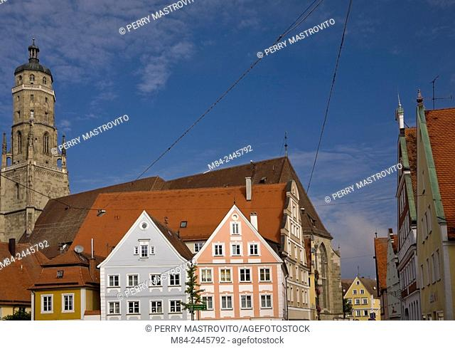 Church tower and buildings in the medieval town of Nordlingen, Bavaria, Germany