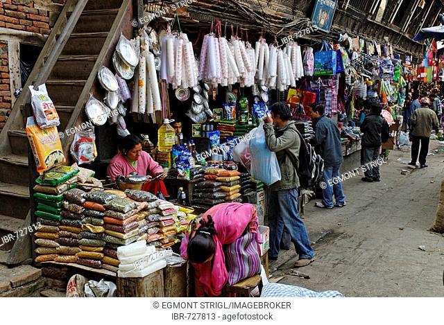 Market in the old town of Kathmandu, Nepal