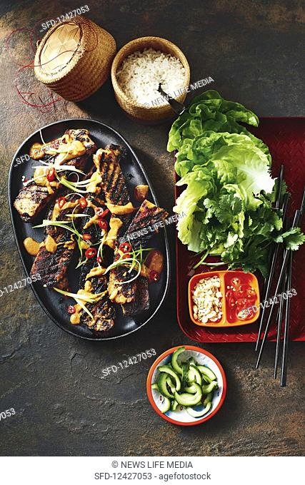 Korean chilli pork ribs with peanut sauce