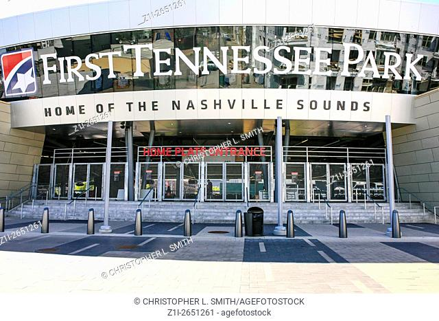 Entrance to the First Tennessee Park baseball stadium in Nashville