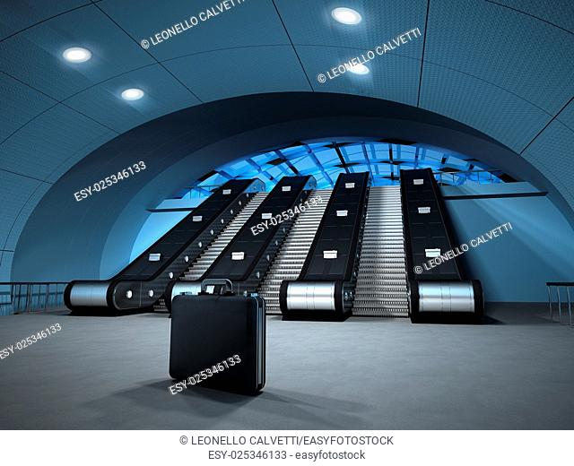 Isolated business suitcase left at the bottom of a metro, or airport escalator. Potential danger