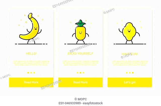 Vector Illustration of onboarding app screens and outline web fruit icons for mobile apps . Modern yellow interface UX, UI GUI screen template for mobile smart...