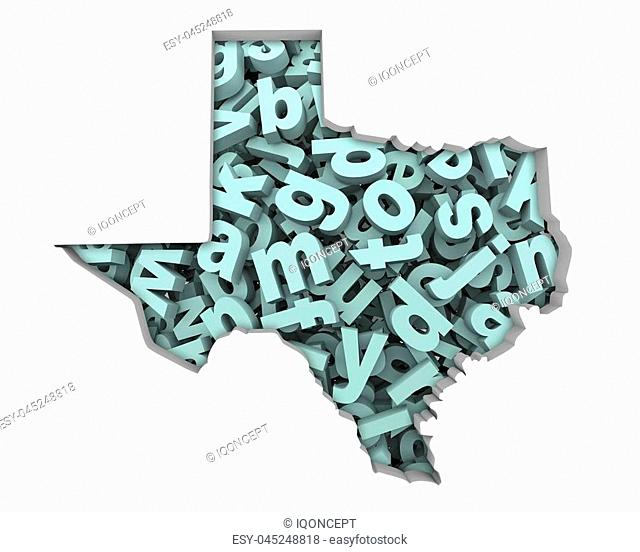 Texas TX Letters Map Education Reading Writing Schools 3d Illustration