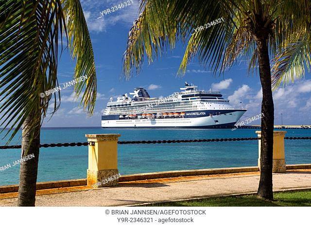 Celebrity Constellation cruise ship docked at Frederiksted, St Croix, US Virgin Islands, West Indies