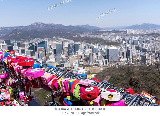 Locks of Love padlocks at Seoul Tower, Namsan in Seoul, Korea