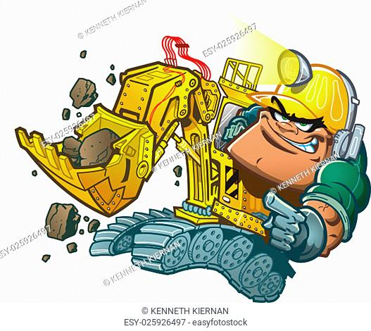 Cartoon Backhoe Driver with Helmet Lamp