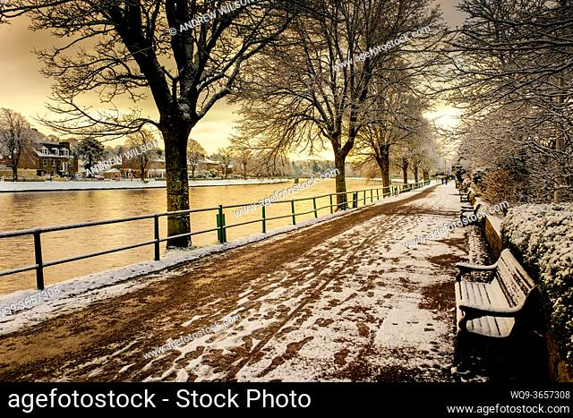 Ness Walk, Inverness, Scotland with a dusting of snow in winter