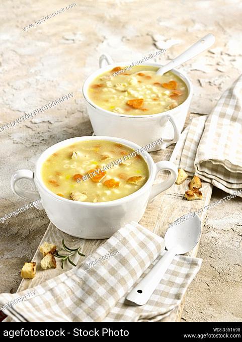 Sopa de pollo con fideos, zanahoria y picatostes