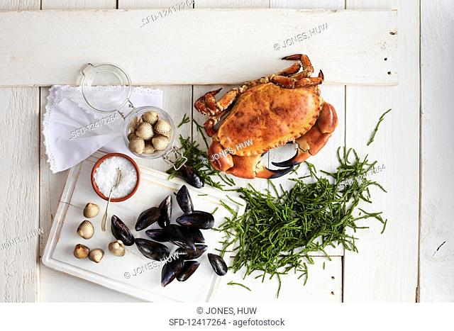 Ingredients for making a seafood dish