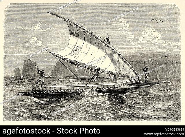 Double piragua boat, New Caledonia. Old engraving illustration, Journey to New Caledonia by Jules Garnier