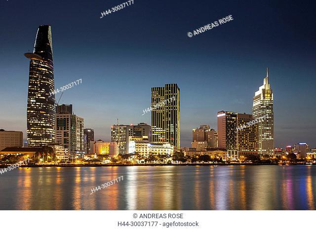 Skyline Saigon, Zentrum mit Bitexo-Tower, Distrikt 1, Ho-Chi-Minh-Stadt, Vietnam, Asien