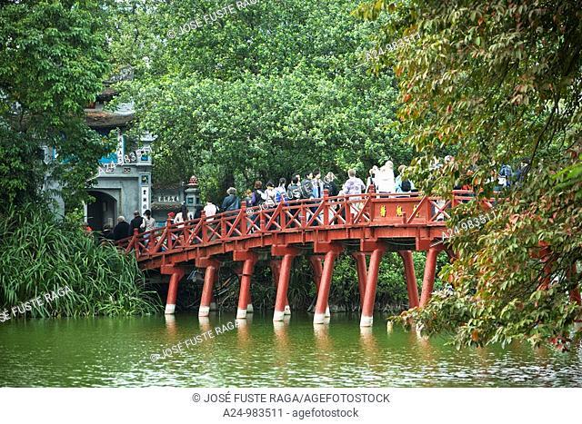 Vietnam- Nov 2009 Hanoi City Hoan Kiem Lake Huc Bridge