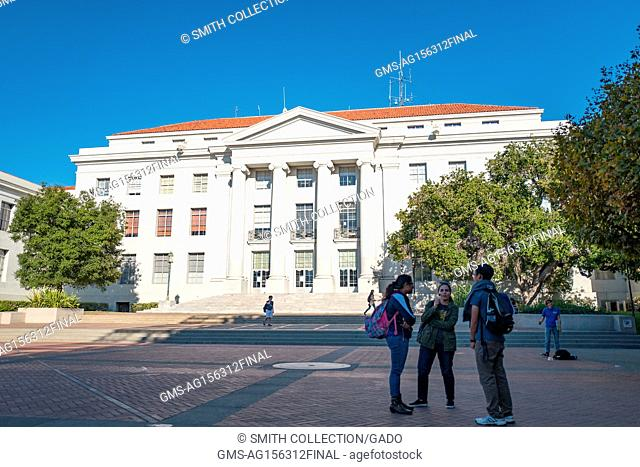 Students gather in a group outside Sproul Hall, the administrative building at UC Berkeley in Berkeley, California, which is known for being the epicenter of a...