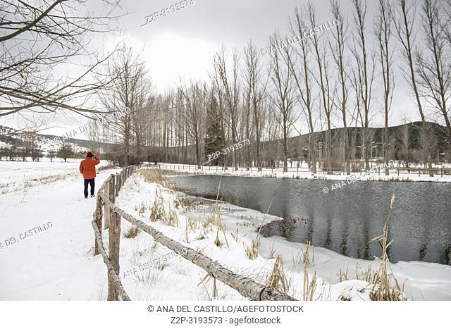 Winter landscape Gudar mountains Teruel Aragon Spain. Frozen lake