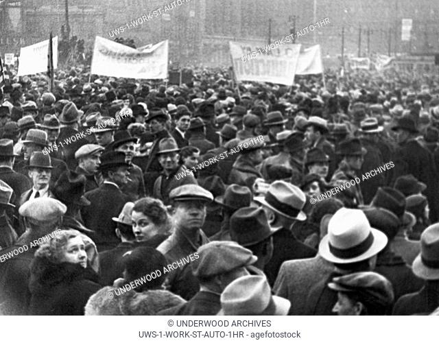 Detroit, Michigan: 1936 Part of the crowd of 100,000 union automobile workers gathered in Cadillac Square to demonstrate against court orders for the eviction...
