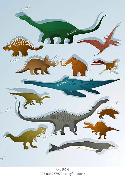 Collection of dinoasurs and ancient animals cartoon drawing set