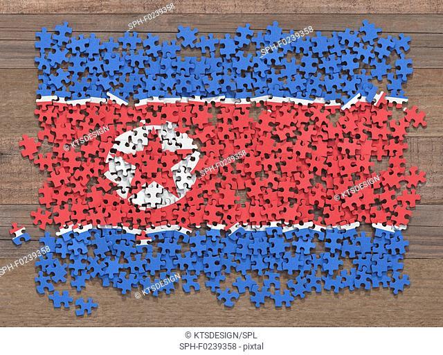 North Korean flag jigsaw puzzle, illustration