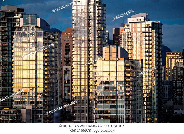 skyline condo towers at sunset on the north shore of False Creek, Vancouver, BC, Canada
