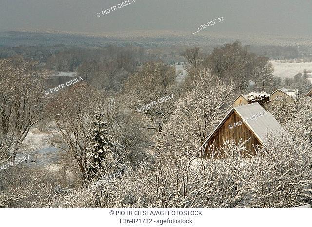 A view Podlasie. Mielnik villiage. Nadbuzanski Scenic Park. Nadbuzanski Park Krajobrazowy. Winter