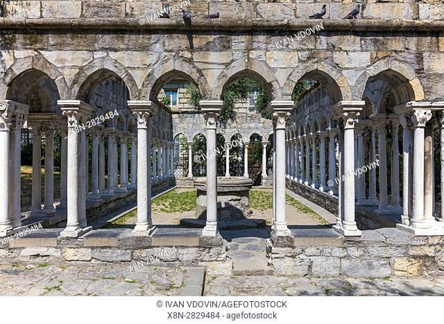 St Andrew cloister ruins, Garden near Christopher Columbus house, Genoa, Liguria, Italy
