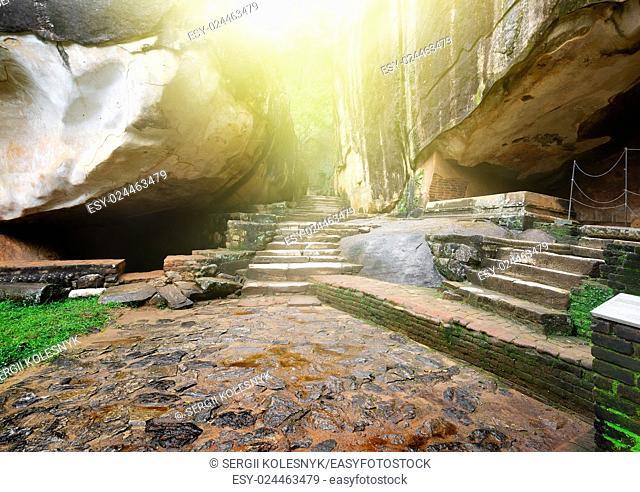 Stairs and rocks in ruined palace on Sigiriya, Sri Lanka