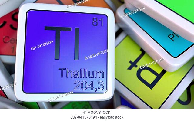 Thallium tag on the pile of periodic table of the chemical elements tags