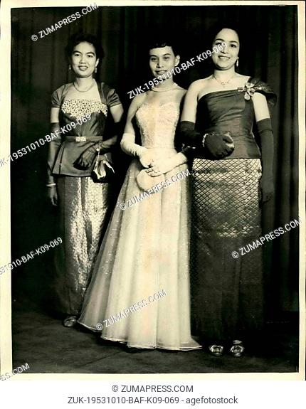 Oct. 10, 1953 - QUEEN HOLDS PRESENTATION PARTY FOR DIPLOMATIC CORPS AT BUCKINGHAM PALACE. H.M. THE QUEEN this evening bald a presentation party for the...