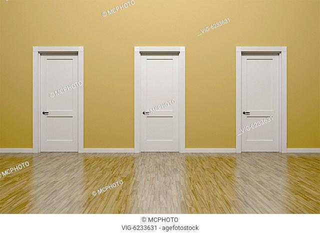 3D render of a beige wall and three doors in an empty flat with space for your content - 01/01/2018