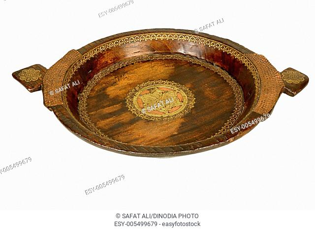 Brass and copper design fitting shallow large dish ; Jodhpur ; Rajasthan ; India