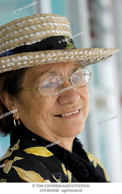 woman at Avarua Cook Islands Christian Church, Rarotonga, Cook Islands