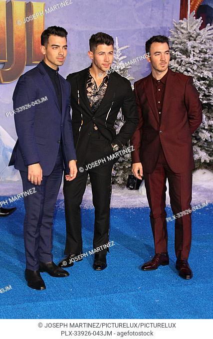 """Joe Jonas, Nick Jonas, Kevin Jonas at Sony Pictures' """"""""Jumanji: The Next Level"""""""" World Premiere held at the TCL Chinese Theater in Hollywood, CA, December 9"""